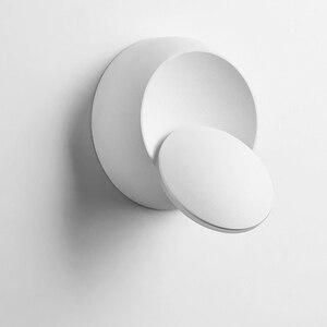 Image 4 - 크리 에이 티브 벽 조명 360 회전 5W 7W 현대 벽 램프 화이트 블랙 라운드 LED 벽 램프 장식 미술 조명