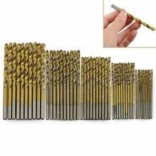 New 50Pcs/Set Twist Drill Bit Set Saw Set High Steel Titanium Coated Drill Woodworking Wood