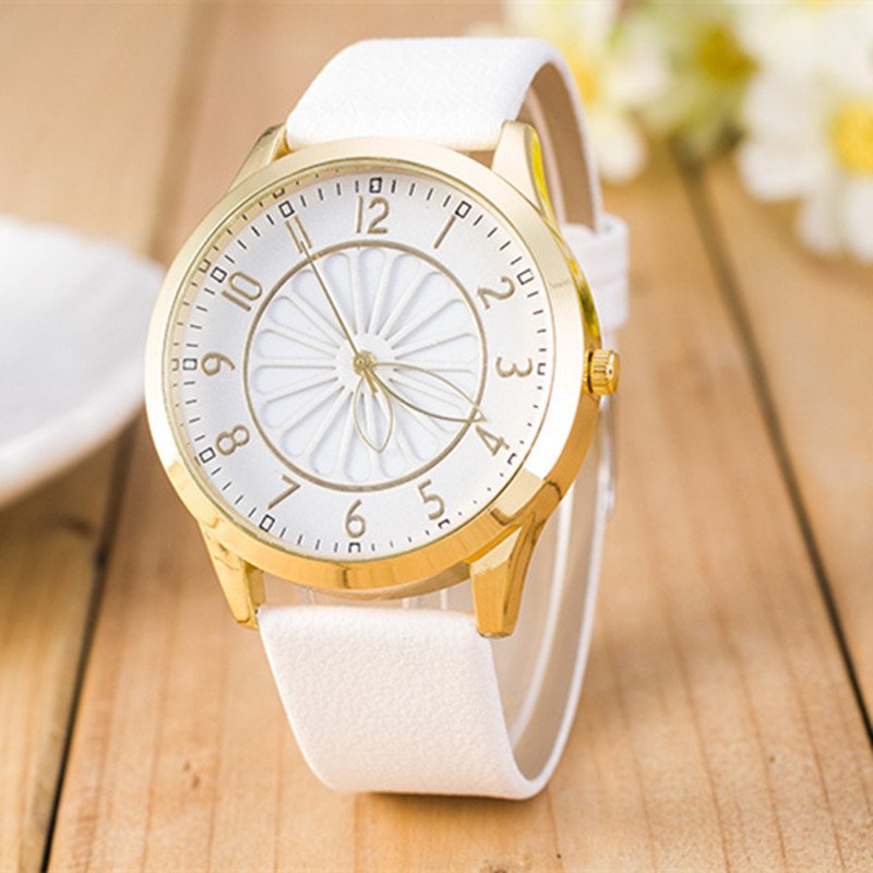 9 colors Hot Sale Flower Watch Women Ladies Fashion Watch Faux leather Elegant Analog Quartz Watch