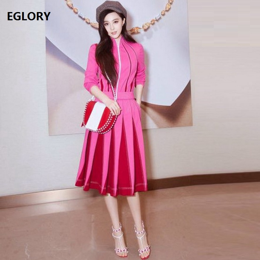 Ladies Fashion Clothing Autumn Spring Winter Womens Sweet Pink Jackets+Color Block Large Swing Skirts Sets Lolita Girls Suits