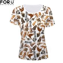 FORUDESIGNS Kawaii Harajuku Clothing Female Tops tees shirt Funny Cat Dog t-shirt Women Casual Summer for Womens Girls T-shirt