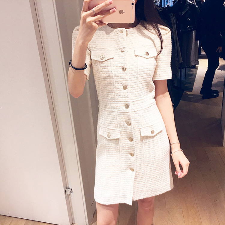 Women Dress 2019 Spring and Summer Short Slim Dress with button