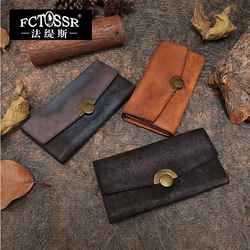 2018 Latest Wallets Women Clutch Bags Handmade Genuine Leather Multi Credit Card Holder Purse Lady Long Foldable Wallet