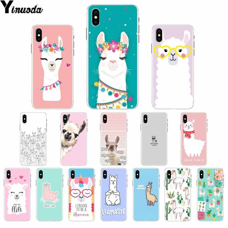 Yinuoda Lama Llama Alpacas Animal Soft TPU Phone Case for Apple iPhone 8 7 6 6S Plus X XS MAX 5 5S SE XR Cellphones