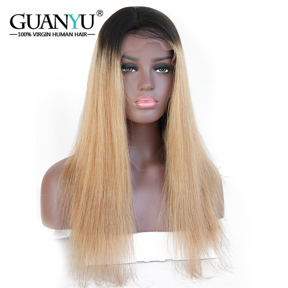 Guanyuhair Ombre #1B/27 Honey Blonde Pre-plucked Straight Peruvian Remy Human Hair 13*4 Lace Front Wigs 130% Density Free Part