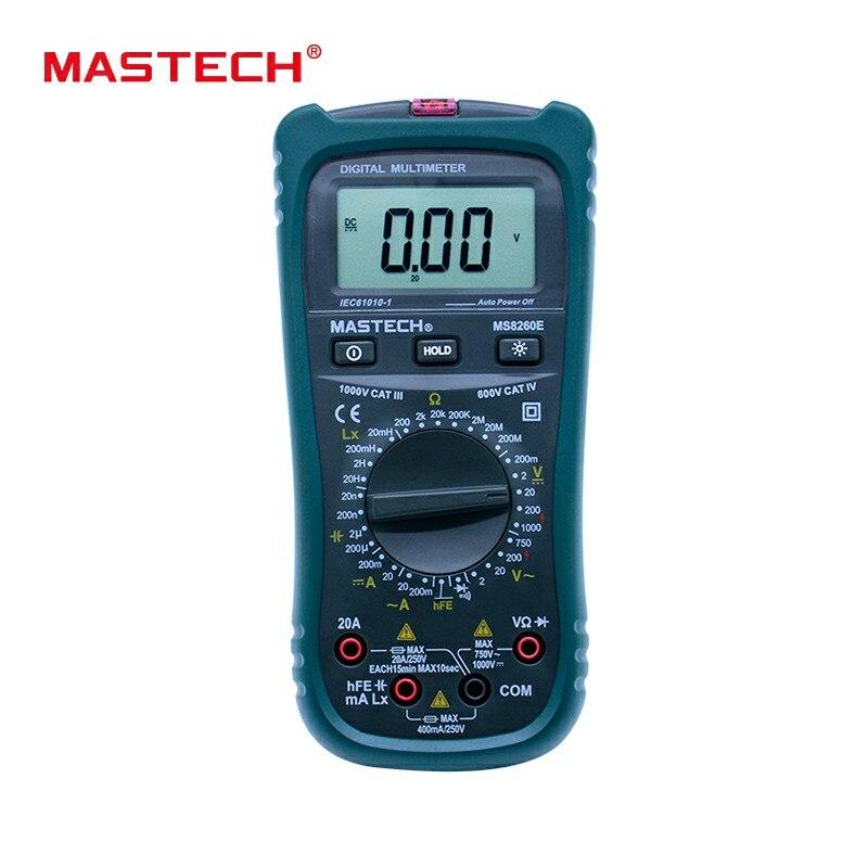 MASTECH MS8260E Multimetro Digitale LCR Meter AC DC Tester di Tensione di Corrente w/hFE Test & Retroilluminazione LCD Meter Multimetro