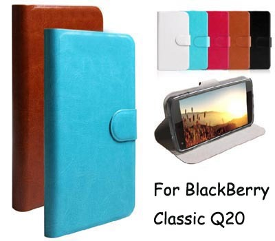 New Styles PU Leather Flip Cell Phones Cover For Blackberry Classic Q20 Case (Gift Touch Pen)