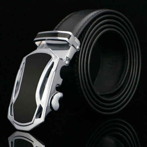 Fashion Otomatis Gesper Kulit Sabuk Tali Pinggang Pria Baru Solid Otomatis Gesper Sabuk