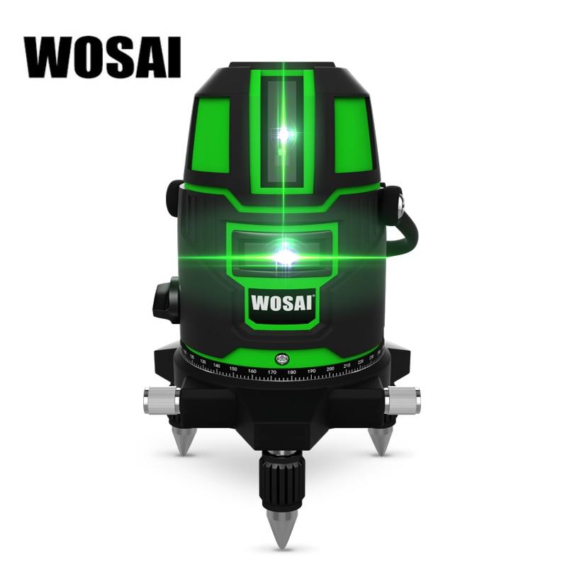 WOSAI зеленый лазерный уровень 5 линий 6 очков лазерный уровень автоматическое самонивелирование 360 вертикальный и горизонтальный наклон и 532nm...