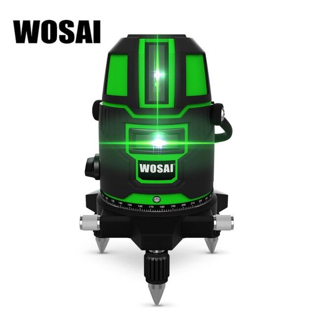 WOSAI Green Laser Level 5 Linien 6 Punkte Laser Ebene Automatische Selbst Nivellierung 360 Vertikale und Horizontale Tilt & 532nm outdoor Modus