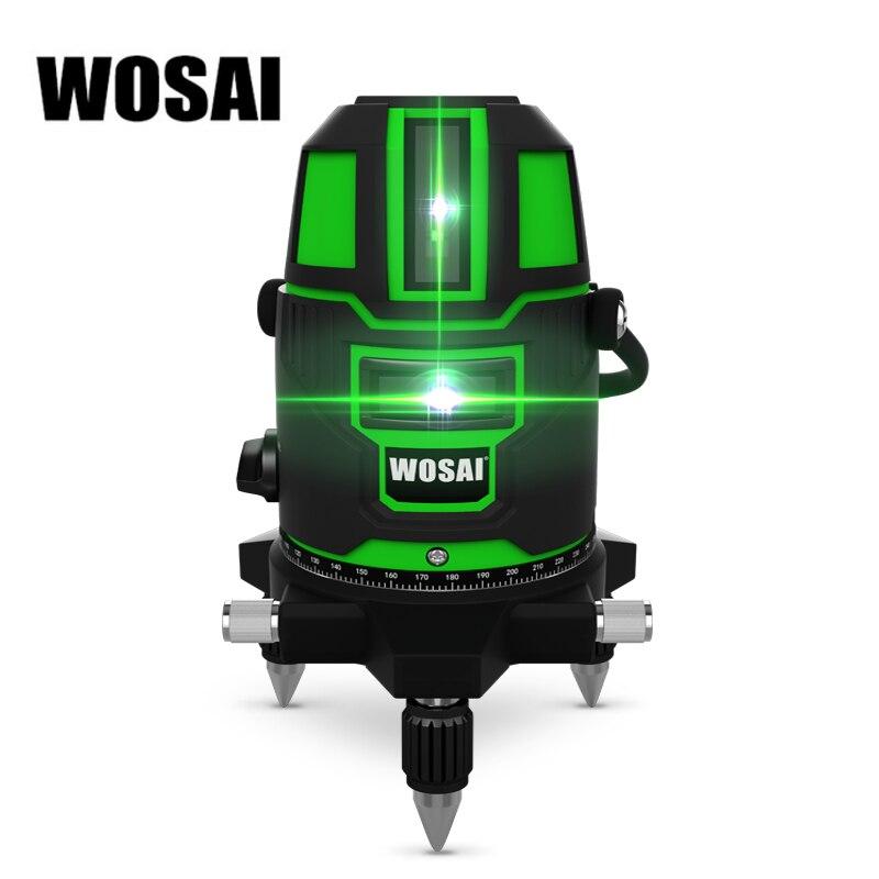 WOSAI Verde Laser Level 5 Linee di 6 Punti di 360 Gradi di Rotazione Esterna 635nm Corss Linea Lazer Livello Punti Livello Tilt funzione