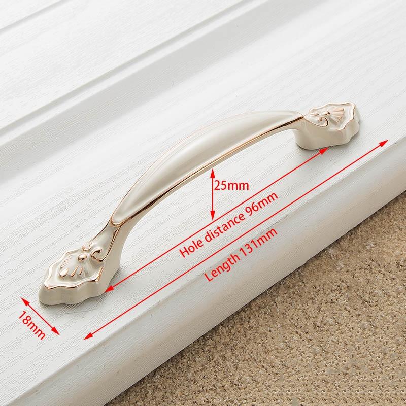 KAK цинк Aolly цвета слоновой кости ручки для шкафа кухонный шкаф дверные ручки для выдвижных ящиков Европейская мода оборудование для обработки мебели - Цвет: Handle-8859-96