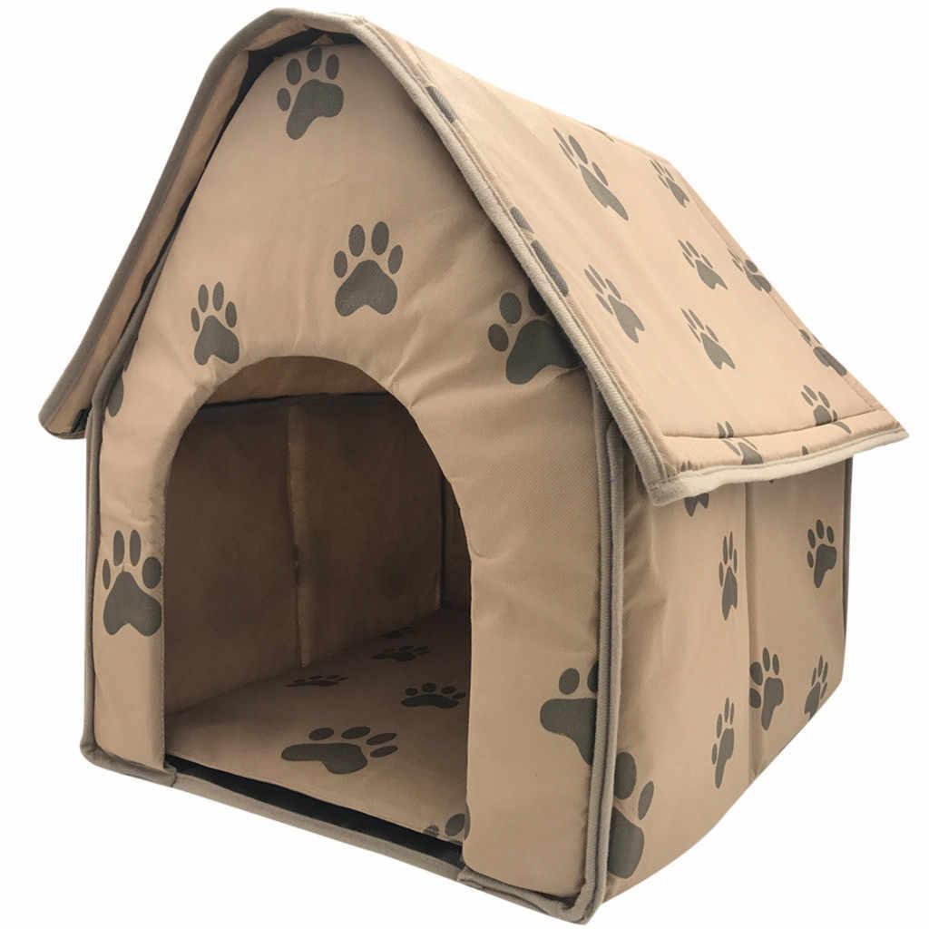 Transer pliable chien maison petit mode empreinte Pet lit tente chat chenil intérieur Portable voyage 18 Dec24 p45