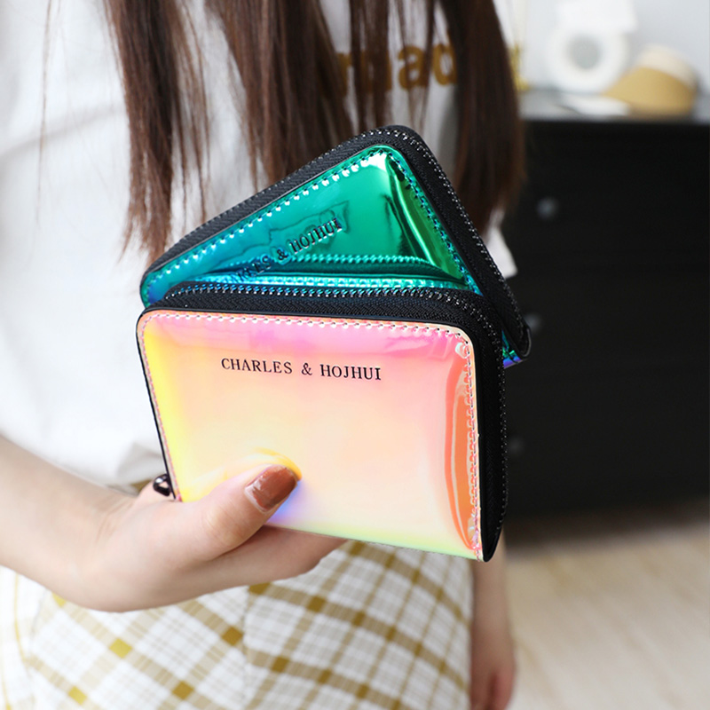 Womens Ins Laser Short Wallet Fashion Clutch Bag Small Coin Purse Girls Multifunction Purses Lady Card Holders Female