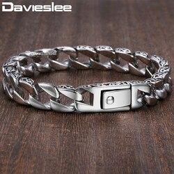Для мужчин s браслет-цепочка 316L Нержавеющаясталь Снаряженная Кубинский цепи Браслеты для Для мужчин Davieslee оптовая продажа ювелирных издел...