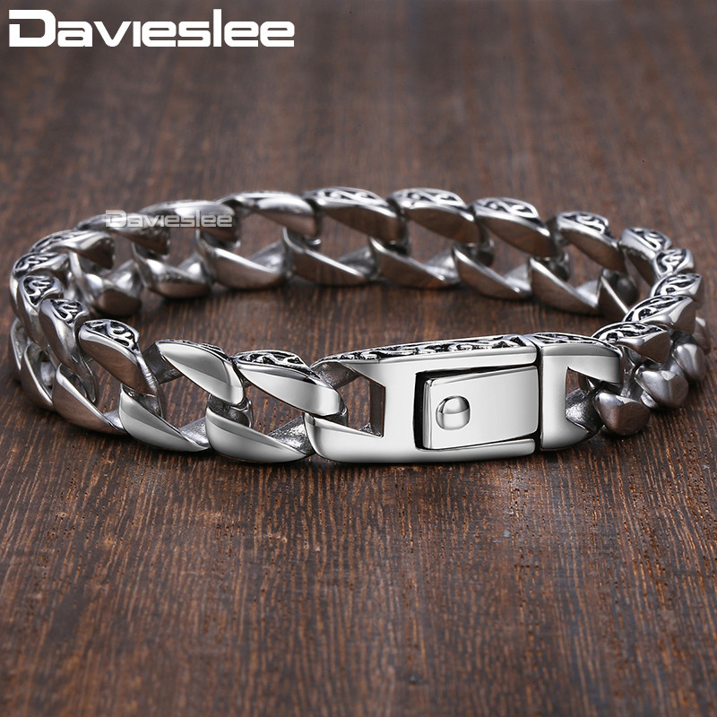 Mens Bracelet Chain 316L Stainless Steel Curb Cuban Chains Bracelets for Men Davieslee Fashion Wholesale Jewelry 11mm DLHB30 chimdou fashion party punk 316l stainless steel mens chain link bracelets wolf bracelets wristband jewelry wholesale gift ab676