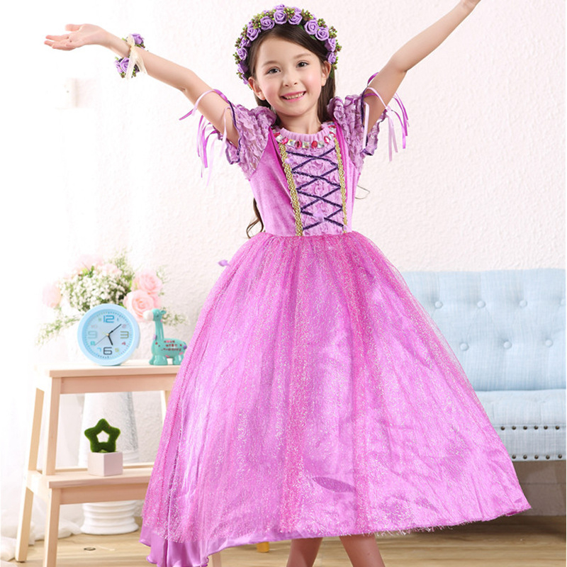 2017 Rapunzel Cosplay Dress Children Girls Long Hair Princess Dress Halloween Costume Clothes Kids Clothing with Sleeves Garland 2017 rapunzel cosplay dress children girls long hair princess dress halloween costume clothes kids clothing with sleeves garland