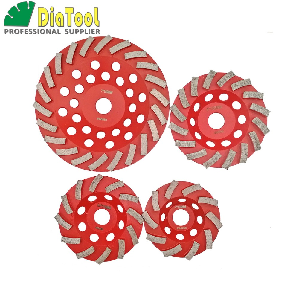 DIATOOL 1 Pc Diamond Segmented Turbo Grinding Cup Wheel For Concrete And Other Construction Material 4 4.5 5 7 Available