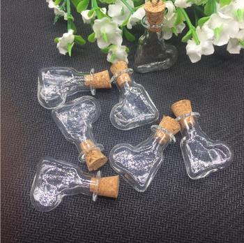 100sets/lot handmade Glass Hanging HEARTvial cork Lampwork pendant charm 2ml box tiny Perfume essential oil Bottle Findings
