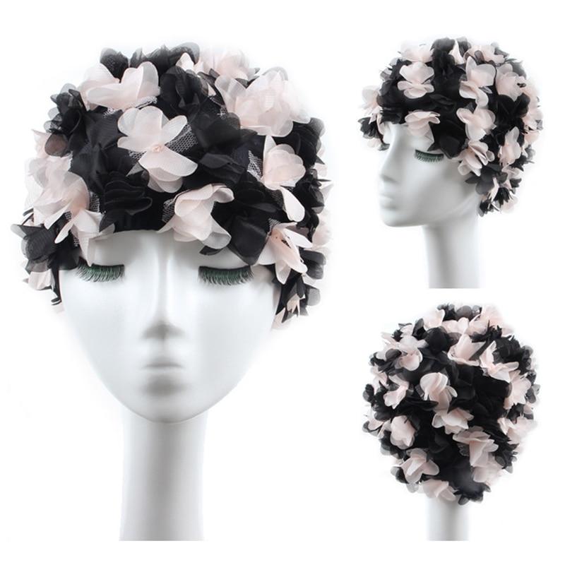 Patty Both 3D Flowers Women Swimming Cap Coloful Sports Swim Pool Beautiful Hat Free Size Women Elastictry Cap