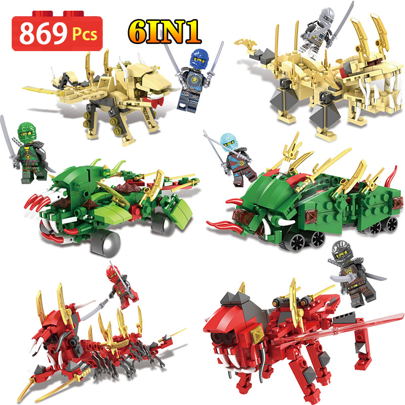 Movie Series Ninjago Mech Building Blocks Bricks Dragon Toys Model Children Gifts Compatible LegoINGly Toys For Kid 6 IN 1 2018 hot ninjago building blocks toys compatible legoingly ninja master wu nya mini bricks figures for kids gifts free shipping
