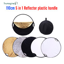 "110CM 43"" 5 IN 1 Transportable Collapsible Gentle Spherical Reflector For Pictures Studio Equipment With Deal with Bar Multi Picture Disc"