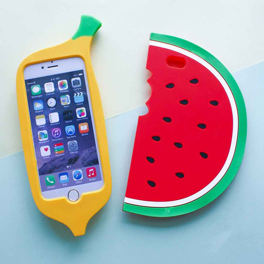 best sneakers a302c 851cb US $4.21 |3D lovely Banana Watermelon Phone Cases For iPhone 7 7 plus 6 6s  plus Rubber Soft Silicone Summer Fruit Protection Shell Fundas-in Phone ...