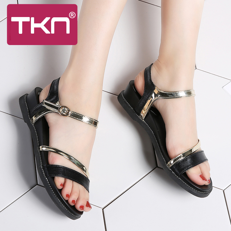 488b5759e9530 TKN 2018 Summer women sandals shoes Black flat sandals shoes Open Toe  ladies sandals classic sandals shoes woman sandalie 1810-in Middle Heels  from Shoes on ...