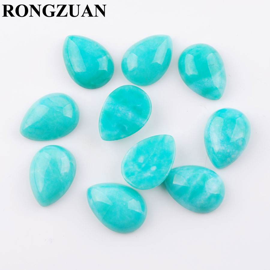 RONGZUAN Natural Stone Cabochon CAB Amazonite stone 13x18mm Teardrop Flat Back Beads No Drilled hole Jewelry 10pcs lot TU3288 in Beads from Jewelry Accessories