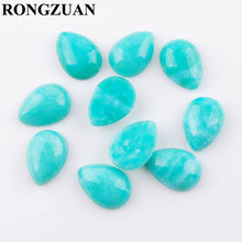 RONGZUAN Natural Stone Cabochon CAB Amazonite stone 13x18mm Teardrop Flat Back Beads No Drilled hole Jewelry 10pcs/lot TU3288