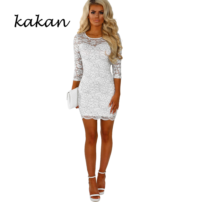 Kakan summer new womens dress water soluble lace fashion backless embroidered