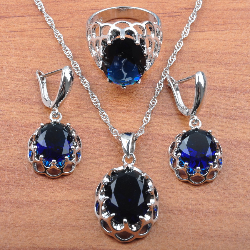 Blue Cubic Zirconia For Women Wedding Jewelry 925 Sliver Costume Jewelry Sets 2019 Rings/Earrings/Pendant Necklace JS0165