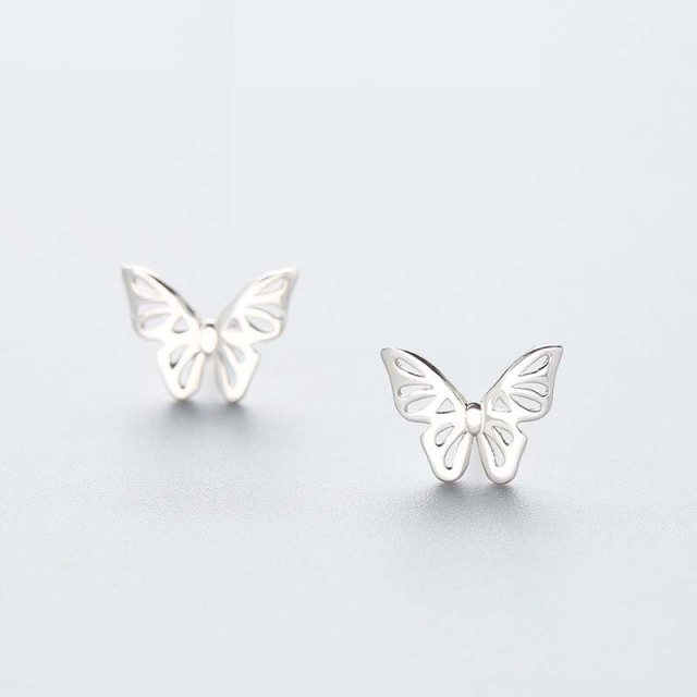 Fashion butterfly 925 sterling silver stud earrings for women ladies S925 silver  Earring jewelry