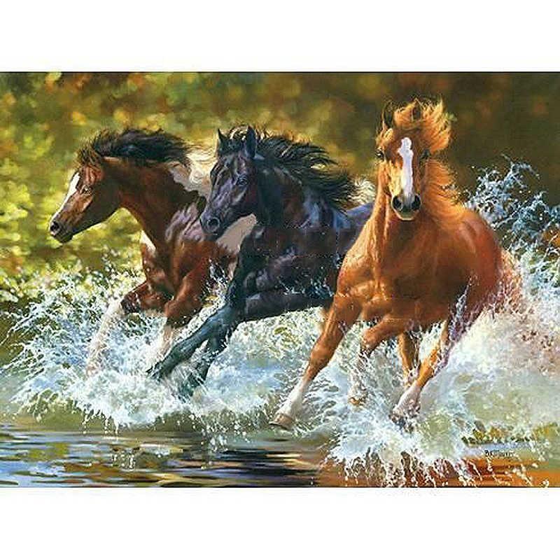 ثلاثة تشغيل الخيول الحيوان DIY الرقمية الطلاء بواسطة أرقام الحديثة الرسم على لوحات القماش الجدارية هدية للأطفال ديكور المنزل 40x50 سنتيمتر