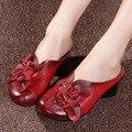 La alta calidad Del Verano Suave de Fondo Plano Zapatos de Las Mujeres de La Personalidad de Cuero Genuino De ocio Sandalias Retro Hecho A Mano Sandalias sapato