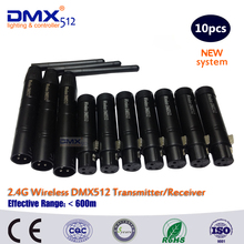 DHL Free Shipping COLORNIE 10pcs 2.4G DMX512 DJ led wireless dmx Transmitter + Receiver