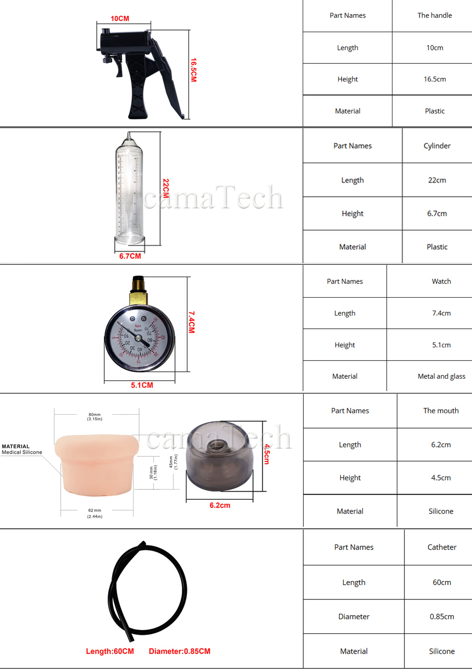 camaTech Male Pistol Penis Pump Enlarger Enlargement With Master Pressure Gauge Dildo Erection Enhancer Vacuum Sleeve Sex Toys 3