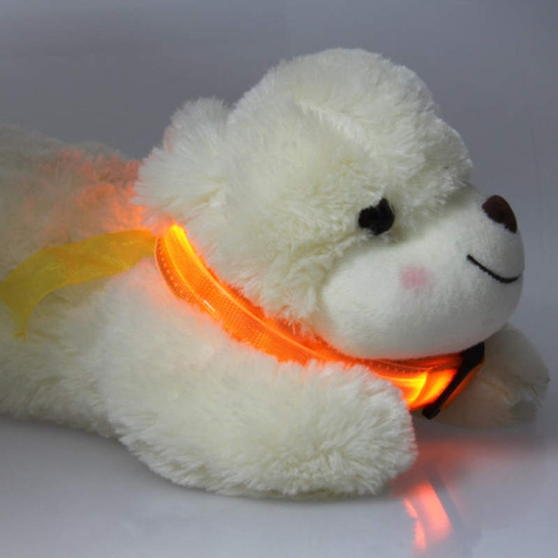 Hot Pets Safety LED Collars Transparent Nylon Collar Light Up LED Flashing S M L XL