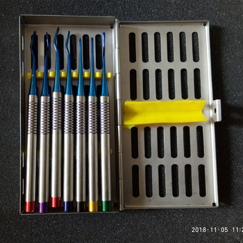 7 Pcs Set Dental Implant Stainless Steel Luxating Root Elevator with Case Instruments Tool