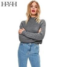 HYH haoyihui водолазка Для женщин Свитера с длинным рукавом с металлическим кольцом Вязание пуловер Джемпер Повседневное осенний свитер