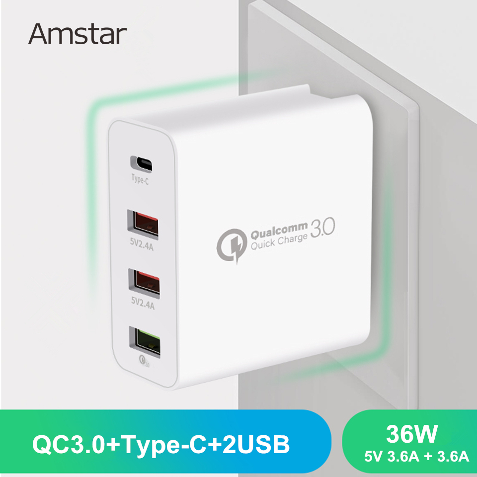 Amstar 36W Quick Charge 3.0 USB Charger Type C With QC 3.0 4Port Adapter For iPhone Samsung Huawei Xiaomi Travel Wall Charger|Mobile Phone Chargers| |  - title=