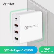 Amstar 36w carga rápida 3.0 usb carregador tipo c com qc 3.0 4 portas adaptador para iphone samsung huawei xiaomi viagem carregador de parede