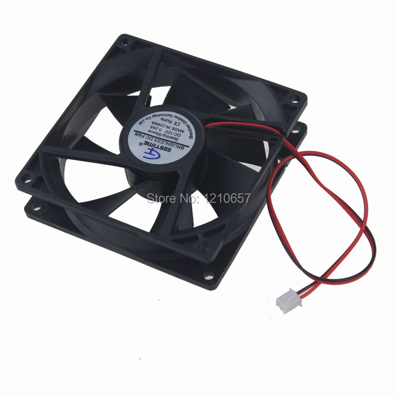 2 PCS lot Gdstime DC 12V 2Pin Electric Cooling Fan 92mm 92x92x25mm 9.2cm 9225 цена 2017