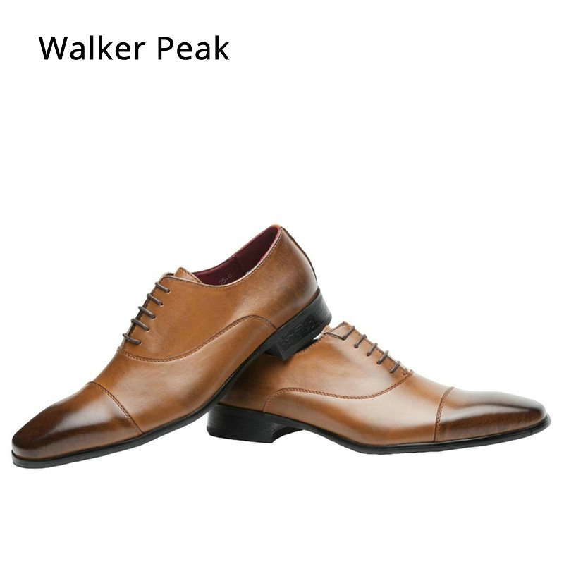 Men Business Dress Shoes Fashion Lace up Flats Genuine Leather Formal Office Loafers Party Wedding Oxfords Shoes Male WalkerPeak mabaiwan black genuine leather men shoes dress wedding male brogue shoes men lace up oxfords prom slipper business formal flats