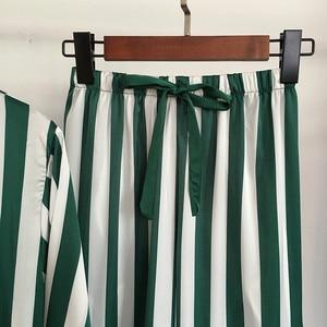 Image 5 - Autumn Women Pajamas Sets 4 Pieces Spaghetti Strap Satin Sleepwear Female Stripes Silk Long Sleeve Home Clothing Pijama