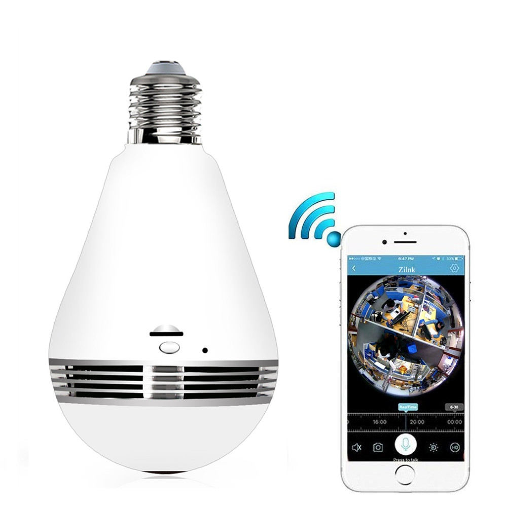 ZILNK Wireless Wifi Camera Bulb Light 3MP IR Night Vision FishEye 360 Degree Panoramic Lamp IP Camera CCTV Home Security new hd 3mp led bulb light wireless camera fisheye panoramic wifi network ip home security camera system for ios android p2p