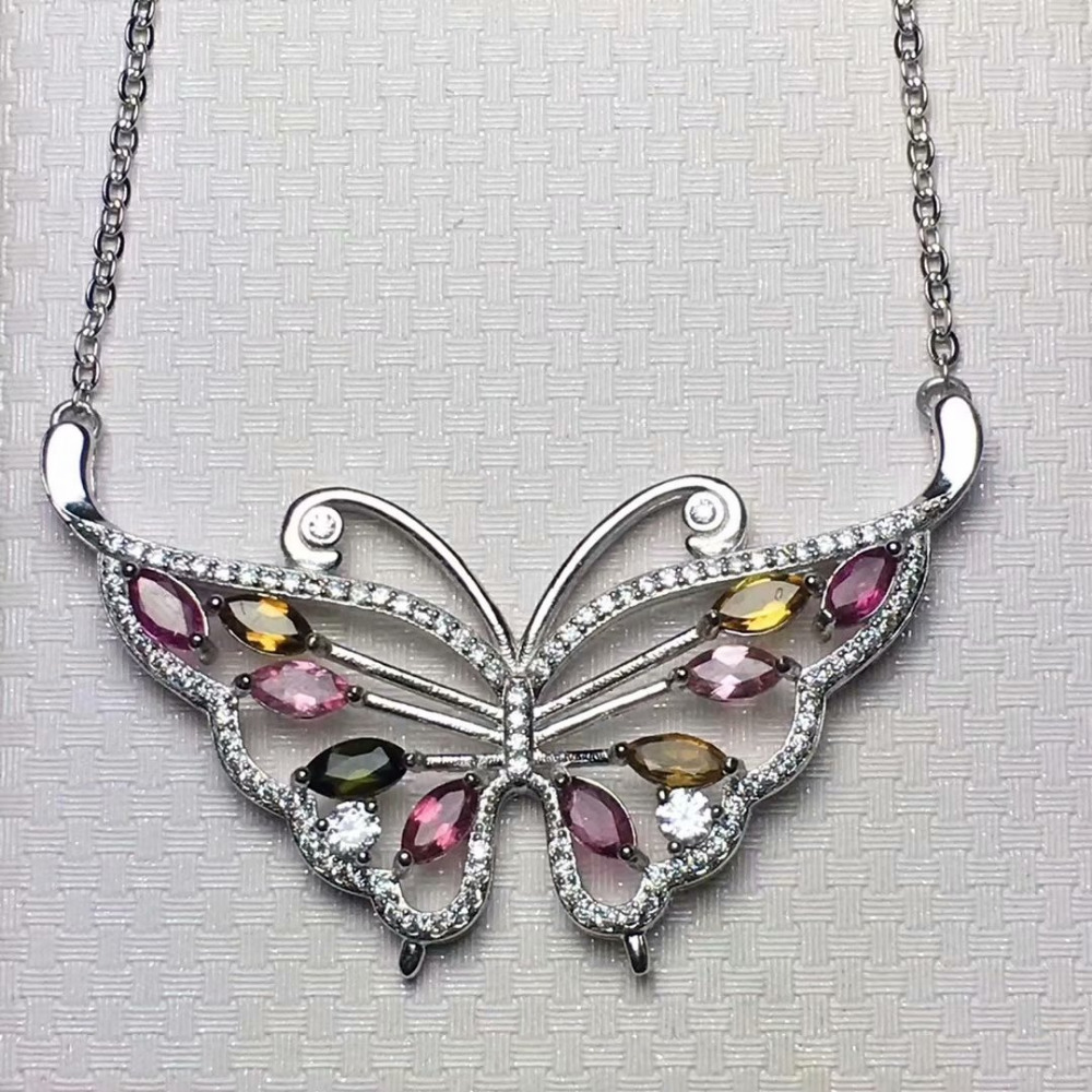 Natural Multicolor tourmaline Necklace natural gemstone Pendant Necklace S925 silver trendy Butterfly girl gift party JewelryNatural Multicolor tourmaline Necklace natural gemstone Pendant Necklace S925 silver trendy Butterfly girl gift party Jewelry