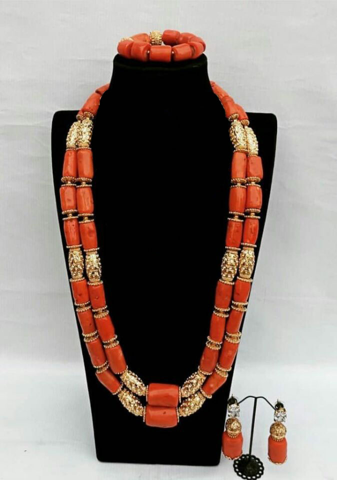 HTB1mOvLX0jvK1RjSspiq6AEqXXaU Long Style Coral and Dubai Gold African Beads Necklace Jewelry Set Real Coral Beads Necklace Set New Bridal Jewelry Sets CG022
