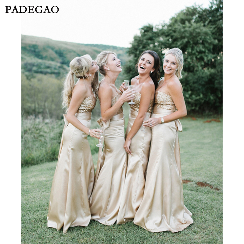 2019 Elegant Mermaid Long   Bridesmaids     Dresses   Sleeveless Sequined Customized   Bridesmaids     Dresses   Sweep Train Prom Custom Made
