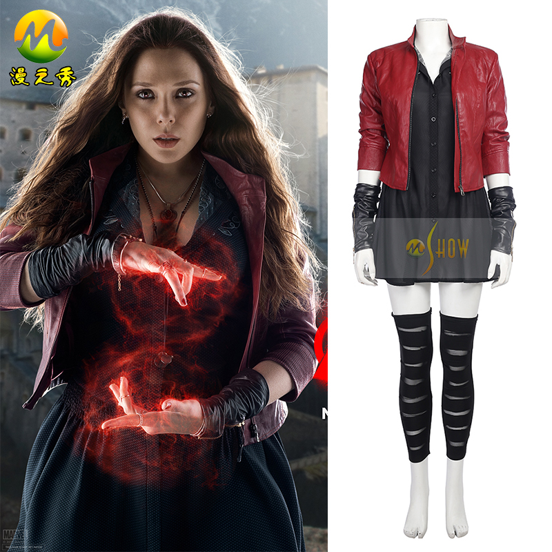 Avengers Age of Ultron Cosplay Costumes Wanda Maximoff Scarlet Witch Jacket Dress Cosplay Costume for Halloween adult women